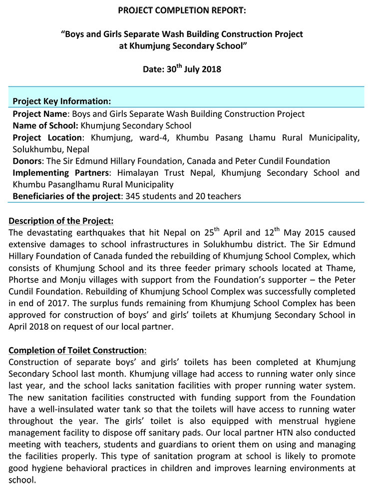 Project Completion Report - Toilet Construction at Khumjung School-1