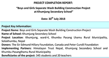 Project Completion Report-Toilet Construction at Khumjung School-1