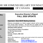 SEHF Executive Director's Report October 2020