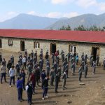 School captains Pratik Shrestha and Sumina Rai from Class 9 conduct morning assembly